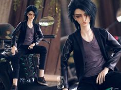 5th Atelier Commisson: Valentin by Ylden Today's morning productivity recipient is @caravangirl's Val, whose color palette range only on black, gray & white; a man after my heart~♥♥♥ Leather-Sleeved Black Blazer + Skinny Black Jeans + Gray Undershirt