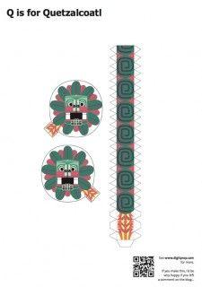 Blog_Paper_Toy_papercraft_Alphabet_Q_Quetzalcoatl_template_preview