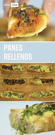 3 recetas de panes rellenos para saciar esa gula. Simple, rico y rápido. Pan Relleno, Sin Gluten, Finger Foods, Recipies, Food And Drink, Vegan, Chicken, Cooking, Ethnic Recipes