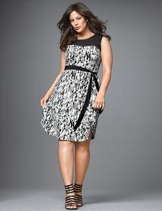 Plus Size Printed Illusion Shift Dress by Lane Bryant | Lane Bryant