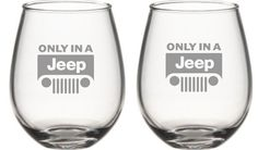 Only In a Jeep Choice of Pilsner, Beer Mug, Pub, Wine Glass, Coffee Mug, Rocks, Water Glass Sand Carved Set of 2 on Etsy, $29.95