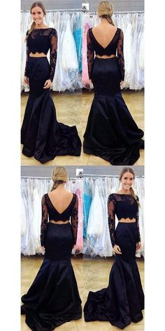 Navy Blue Two Piece Prom Dress, Long Sleeve Lace Prom Dresses, Mermaid Crop Top Prom Dress, Cfbridal Prom Dresses Lace Sleeves, Mermaid Prom Dresses Lace, Classy Prom Dresses, Prom Dresses Two Piece, Black Prom Dresses, Formal Evening Dresses, Homecoming Dresses, Lace Dress, Dress Long