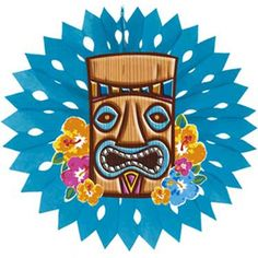 Hawaiian Tiki 18 In Tissue Fan Decoration SALE FREE Shipping Offer