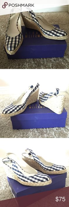 Stewart Weitzman blue hounds tooth wedge These wedges are cute!  Slightly worn no stains Stuart Weitzman Shoes Wedges