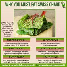 Why you must eat Swiss Chard Chard Recipes, Raw Food Recipes, Healthy Recipes, Vegetable Recipes, Healthy Life, Healthy Snacks, Healthy Living, Healthy Fruits, Health And Nutrition
