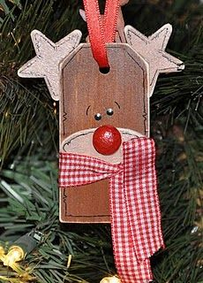 Rudolph Gift Tag @Megpie Designs: I love these wooden gift tags! I bought them in bulk... Here's another project idea for these: Rudolph...So cute tied to a gift or hanging from a jar of peppermint candies! Here's what you'll need to make the Rudolph Gift Tag...