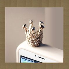 Crown cell phone charm, dust plug, phone charm, on Etsy, $6.39 CAD