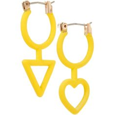 Marc by Marc Jacobs His & Hers Hoop Earrings ($25) ❤ liked on Polyvore featuring jewelry, earrings, disco yellow, yellow jewelry, marc by marc jacobs, disco earrings, marc by marc jacobs earrings and hoop earrings