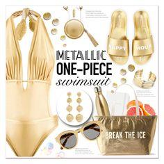 """Metallic One-Piece Swimsuit"" by queenvirgo on Polyvore featuring Schutz, Martha Medeiros, Kate Spade, S'well, Belk Silverworks, The Macbeth Collection, STELLA McCARTNEY and Kenneth Jay Lane"