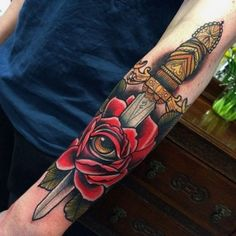 Knife Dagger Rose Tattoo May 2014