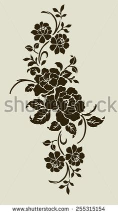 Find Rose Motifflower Design Elements Vector stock images in HD and millions of other royalty-free stock photos, illustrations and vectors in the Shutterstock collection. Stencil Patterns, Stencil Painting, Stencil Designs, Fabric Painting, Tambour Embroidery, Embroidery Motifs, Machine Embroidery Designs, Embroidery Flowers Pattern, Flower Patterns