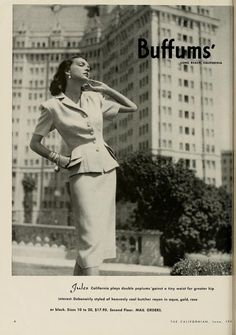 Classic summer skirt suit, 1946. I love that building she's in front of. It's an apartment building in long beach. I've been by it many times. It's gorgeous