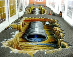3D sewer anamorph streetpainting by Ruben Poncia with Marion Ruthardt.