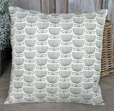 Flower Print Cream Cushion - £22.00 - Hicks and Hicks