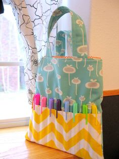 Art Tote Bag- Cute for Little Girls in the Car or on a Trip