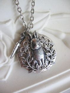 Rabbit,LOCKET,Silver Locket,Bunny,Rabbit Necklace,Enchanted Garden Locket,Rabbit Locket,Lockets,Peter Rabbit,Easter Bunny,Locket, Lockets,xx...