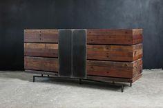Don Rustic Modern Reclaimed Wood Metal Dresser Industrial Dresser, Wood Dresser, Rustic Sideboard, Black Sideboard, Cafe Interior, Interior Design, Brown Wood, Rustic Furniture, Art Furniture