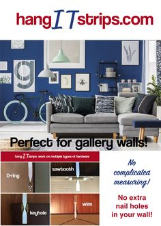 Picture Hanging Tips, Hang Pictures, Hanging Artwork, Nail Holes, Gallery Walls, Drywall, Plaster, Brick, Wire