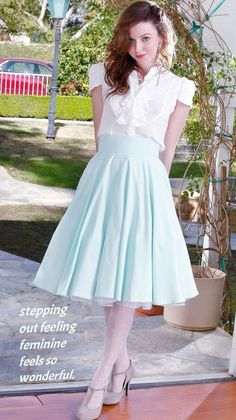 Retro Swing Skirt with Petticoat & White Sleeved Blouse. Girly Outfits, Skirt Outfits, Girly Captions, Tg Captions, Female Transformation, Transgender Girls, Transgender Captions, Dress Up Dolls, Classic Skirts