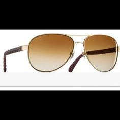 14bf3f32c2 Chanel aviator sunglasses 18 karat gold mirror lens - gold and brown frame  - made with metal