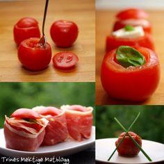 Tomat med mozzarella, basilikum og parmaskinke