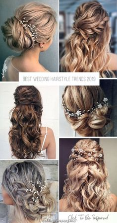 Best Wedding Hairstyle Trends 2019 ❤️ The last thing you want to worry about., Frisuren,, Best Wedding Hairstyle Trends 2019 ❤️ The last thing you want to worry about is doing your hair on your wedding day. We have several hairstyle ide. Summer Wedding Hairstyles, Bride Hairstyles, Down Hairstyles, Easy Hairstyles, Hairstyle Ideas, Hair Ideas, Country Wedding Hairstyles, Bangs Hairstyle, Romantic Hairstyles