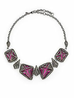 Alexis Bittar Marcasite Caged Lucite Bib Necklace