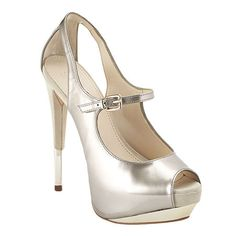 "Boutique 9 Mary Jane peep toe pump.  All leather upper with foil accent.  5 1/2"" heel with 1 1/2"" platform."