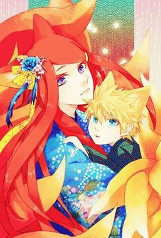 Kushina and Naruto as foxes. The colors in this picture are absolutely captivating! ~Lazy Genius~