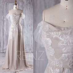 2016 Cream Chiffon Bridesmaid Dress, Off Shoulder Sequin Wedding Dress, Spaghetti Straps Prom Dress, Evening Gown Floor Length (L217) by RenzRags on Etsy https://www.etsy.com/listing/495553955/2016-cream-chiffon-bridesmaid-dress-off