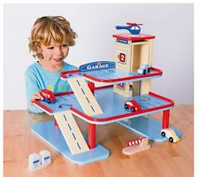 NEW Chad Valley Wooden Play/Toy Garage Set With Cars Ideal Nursery/School toy