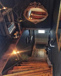 """magicalhomestead: """"Interesting hallway decor- they really transformed a formerly mundane, paneled space. Interior Design Website, Shop Interior Design, House Design, Dark Interiors, Shop Interiors, Interior Garden, Best Interior, Hallway Decorating, Interior Decorating"""