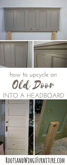 Upcycle an old door into a headboard with this easy DIY project. Add lots of character in no time. Tutorial by Jenni of Roots and Wings Furniture. DIY furniture How to Up-Cycle an Old Door into a Headboard Headboards For Beds, Simple Headboard, Diy Furniture, Headboard Diy Easy, Headboard From Old Door, Diy Furniture Bedroom, Home Diy, Diy Headboard, Old Door