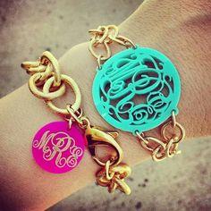 Monogram Bracelets. I'm really digging these.:Bella Latella- Monogramming & More #monogram #gift www.BellaLatella.com