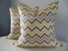 Decorative Pillow Cover Custom Size Chevron Premier Prints Fabric In Yellow Tan and Taupe Cotton Handmade. $25.00, via Etsy.