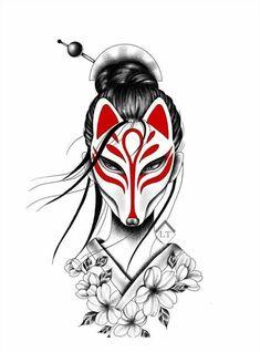 Geisha Tattoo Design, Forearm Tattoo Design, Tattoo Design Drawings, Art Drawings Sketches, Japanese Tattoo Art, Japanese Tattoo Designs, Japanese Sleeve Tattoos, Skull Tattoo Flowers, Kitsune Mask