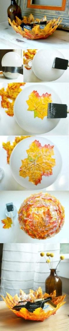 Lovely leaft bowl idea. Glue fake leaves to the bottom of a blown up balloon. Overlap and glue well. Let dry. Pop balloon and you have a bowl. by Liliana Henao