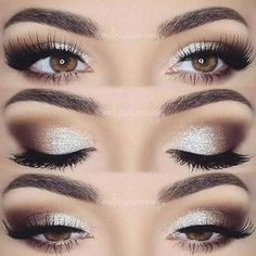 Eye makeup will complement your beauty and also make you look and feel amazing. Find out just how to use make-up so that you can show off your eyes and make an impression. Learn the best ideas for applying make-up to your eyes. Wedding Makeup For Brown Eyes, Best Wedding Makeup, Wedding Hair And Makeup, Hair Makeup, Makeup For Silver Dress, Silver Eye Makeup, Silver Eyeshadow Looks, Sparkle Makeup, Eye Makeup For Prom