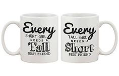Matching Coffee Mugs for Best Friends - Tall and Short Best Friends