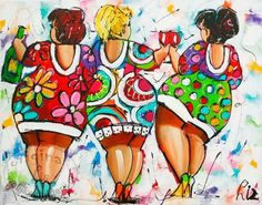 Vrolijk Schilderij, bloemen, abstract, schilderij, Party voor 3