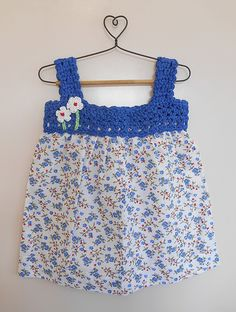 Buy Blue White Floral Printed Cotton Dress with Crochet Yoke Knitting Kids Dresses/Jumpsuits Fun in the Sun dresses details for Online at Jaypore.com