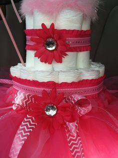 Detail of tutu cake. Flower pin on center of tutu bow is removable to use as hair clip.
