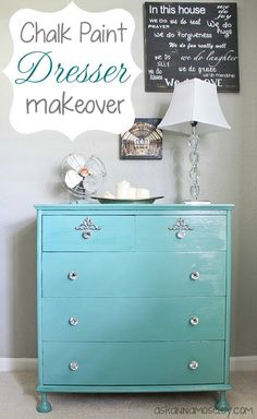 Chalk paint dresser makeover -  I have a telephone stand that my poppy made. I'm thinking I want to paint it teal/aqua and replace the pulls with Crystal knobs.
