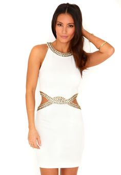 Shanata Cut Out Embellished Bodycon Dress