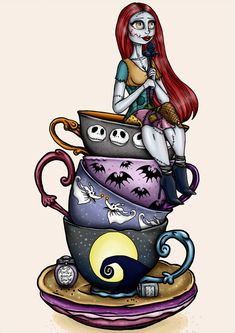 Sally [feat. Jack & Zero] (Teacups by HungryDesigns @Instagram) #TheNightmareBeforeChristmas