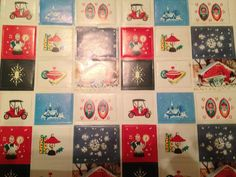 Vintage Christmas Wrapping Paper 4 Full Sheets 36 Matching Seals   eBay