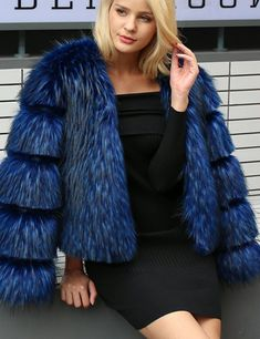 The funky sleeve detail on this faux fur coat makes it stand out from the rest. Be a little bit different and stay warm this winter.