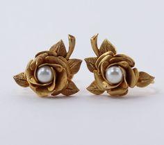 Vintage 50s Mid Century Traditional Goldtone Faux Pearl Rose Flower Sculpted Metal Dimensional Earrings by ThePaisleyUnicorn, $8.00