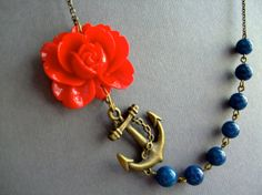 Nautical NecklaceFlower NecklaceRetro JewelryAnchor by RachelleD, $32.00