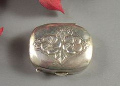 Vintage 925 Sterling Silver Repousse Pill Snuff by Successionary, $95.00